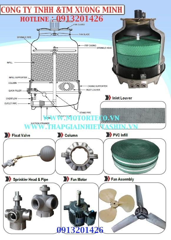 Tháp giải nhiệt, tháp giải nhiệt nước, tháp giải nhiệt tashin 5-200RT, linh kiện tháp giải nhiệt,